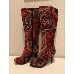 Diba Floral Paisley Velour Knee High Boots